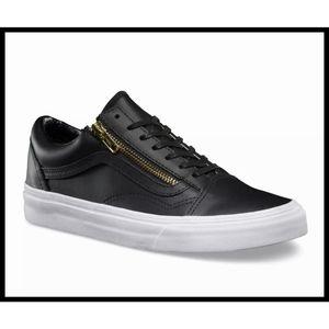 VANS Old Skool Zip Black Leather Skater Sneakers 7